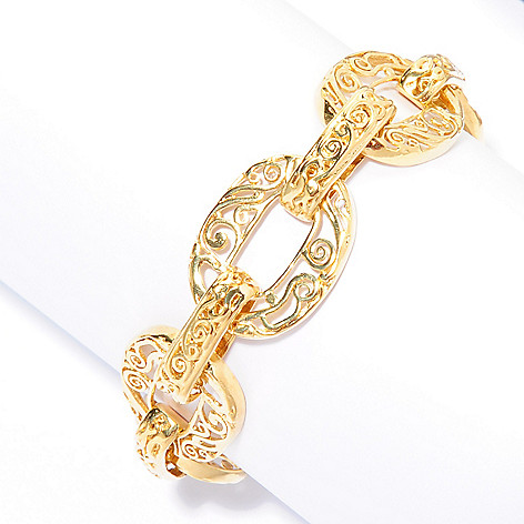 141-544 - Yam Zahav™ 18K Gold Embraced™ 7.5'' Cut-out Link Bracelet w/ 1'' Extender