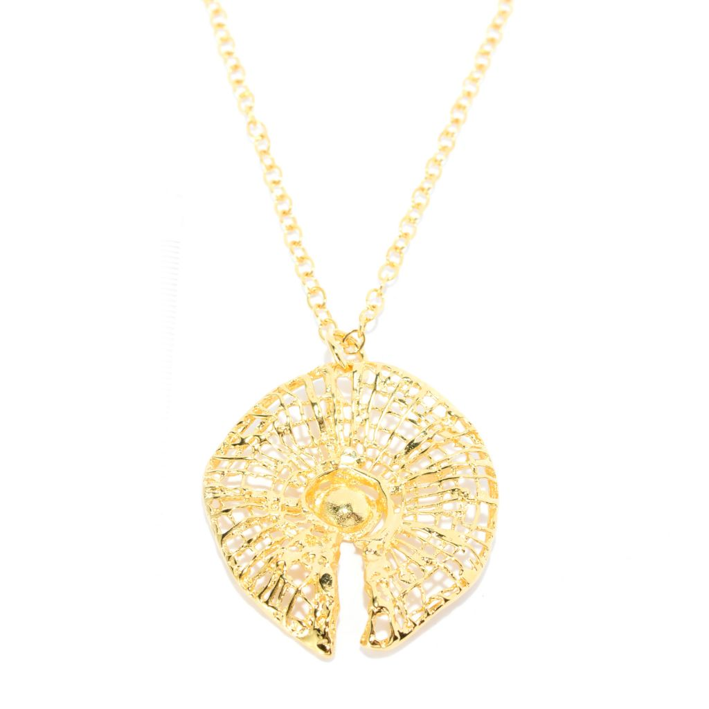 "141-545 - Yam Zahav™ 18K Gold Embraced™ Textured Cut-out Circular Pendant w/ 36"" Chain"