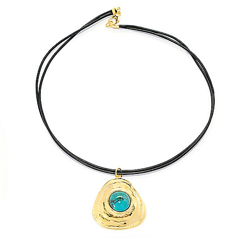 141-547 - Yam Zahav™ 18K Gold Embraced[ 18'' 16mm Turquoise Leather Cord Necklace