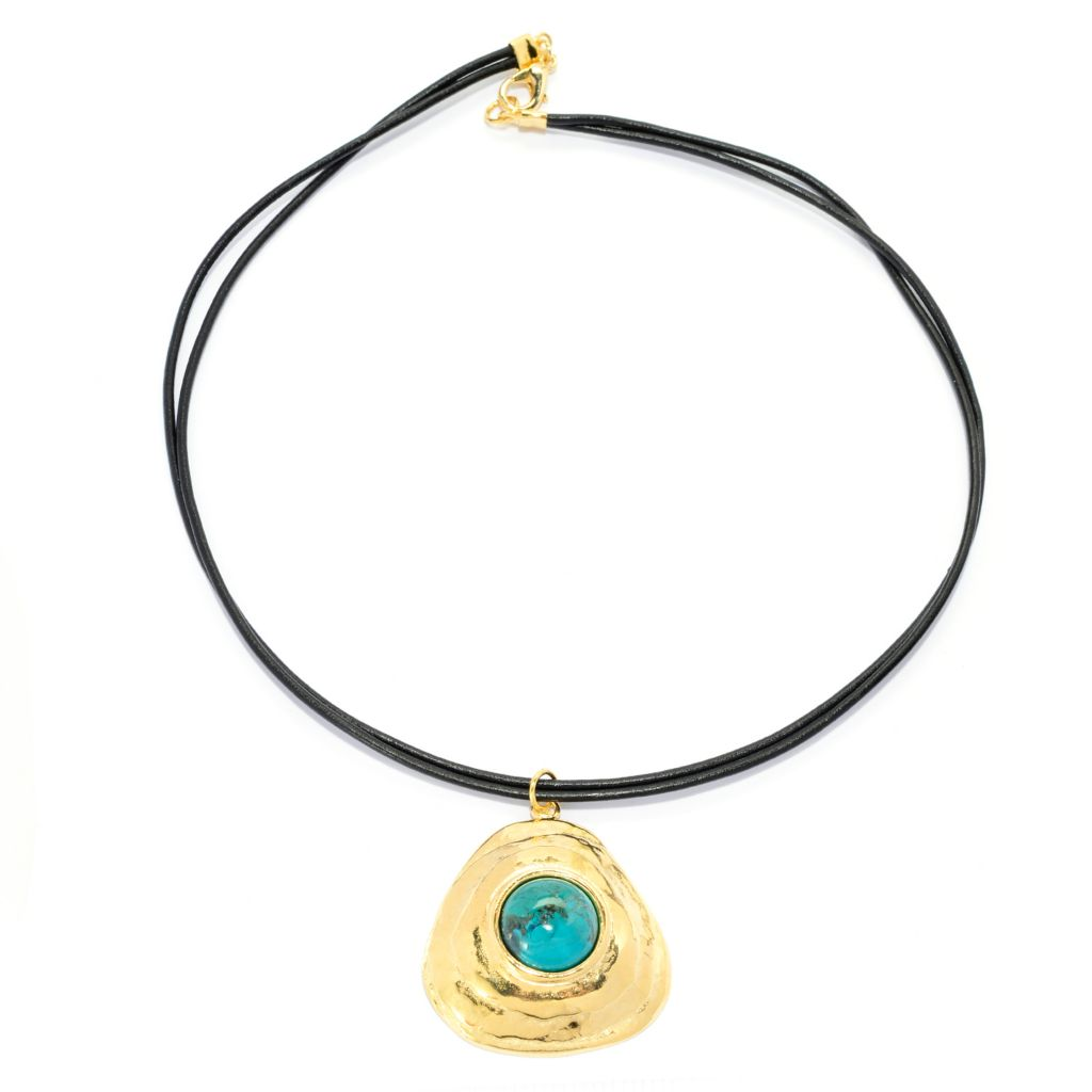 "141-547 - Yam Zahav™ 18K Gold Embraced[ 18"" 16mm Turquoise Leather Cord Necklace"