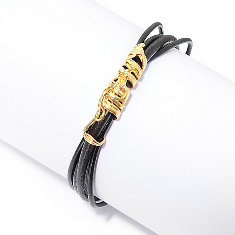 141-548 - Yam Zahav™ 18K Gold Embraced™ 7.5'' Multi Strand Leather Cord Bracelet