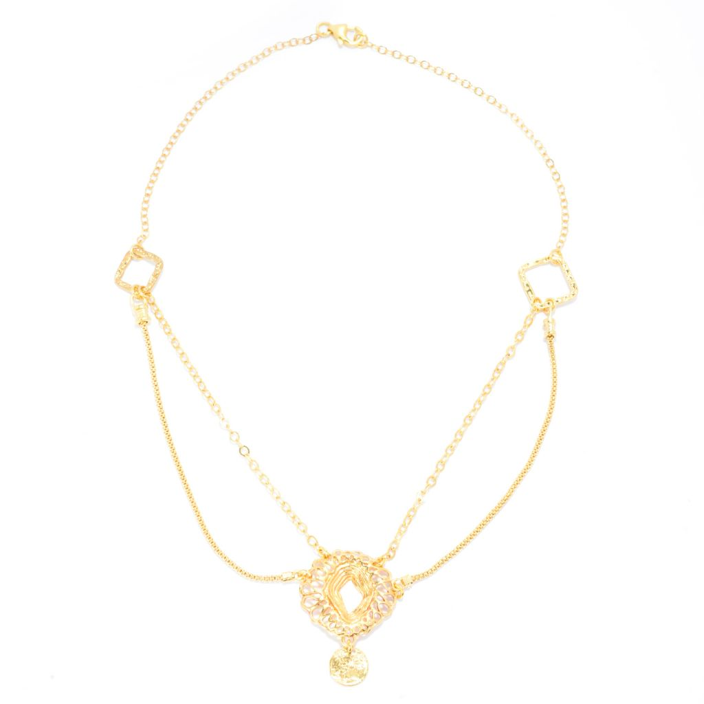 "141-549 - Yam Zahav™ 18K Gold Embraced™ 18"" Double-Row Textured & Cut-Out Drop Necklace"