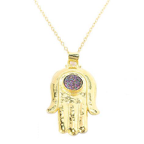 141-550 - Yam Zahav™ 18K Gold Embraced™ 10mm Round Drusy Hamsa Pendant w/ 36'' Chain