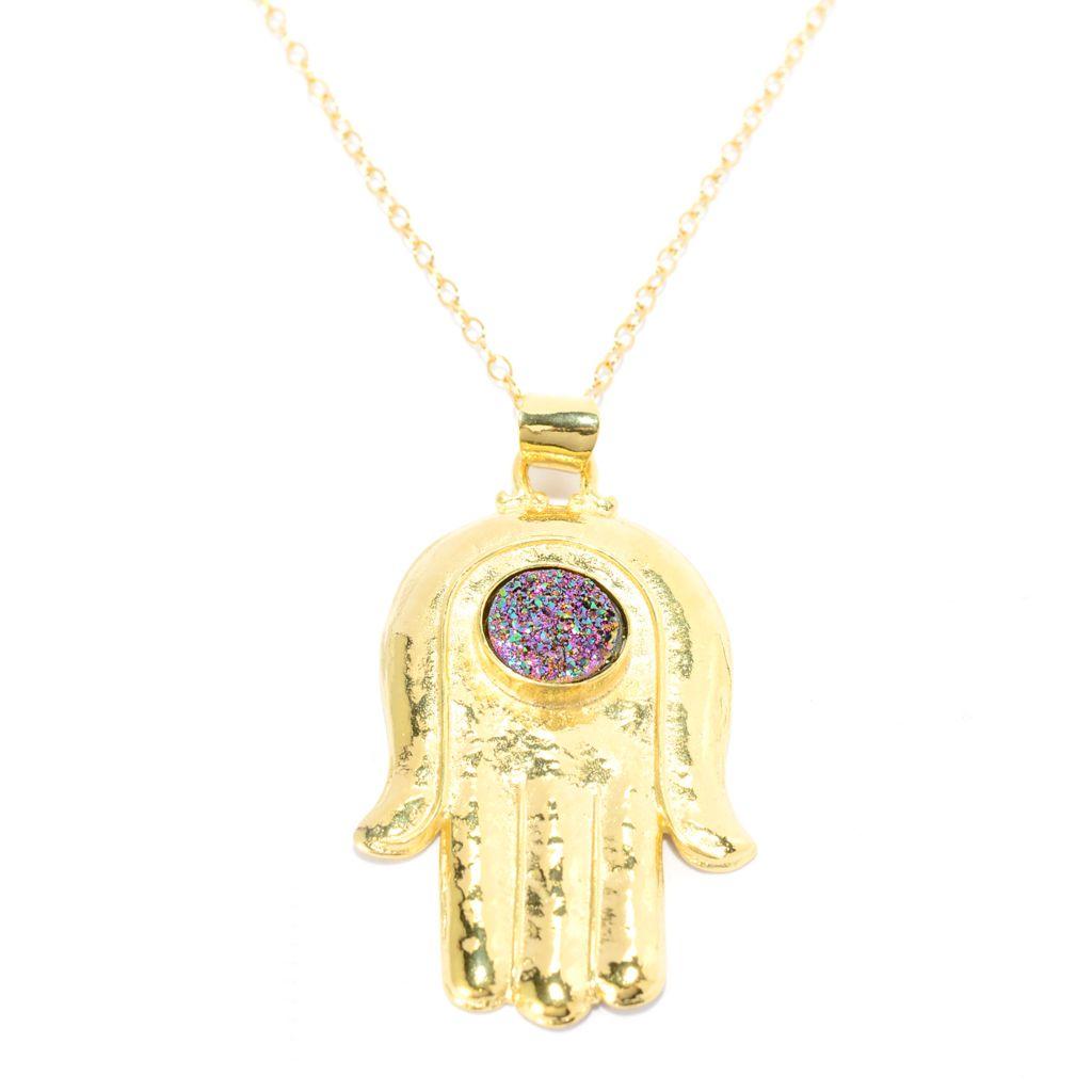 "141-550 - Yam Zahav™ 18K Gold Embraced™ 10mm Round Drusy Hamsa Pendant w/ 36"" Chain"