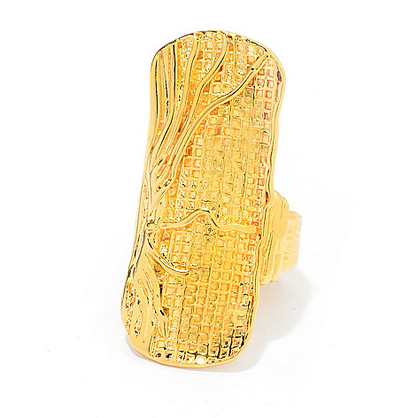 141-551 - Yam Zahav™ 18K Gold Embraced™ Polished & Textured Elongated Ring