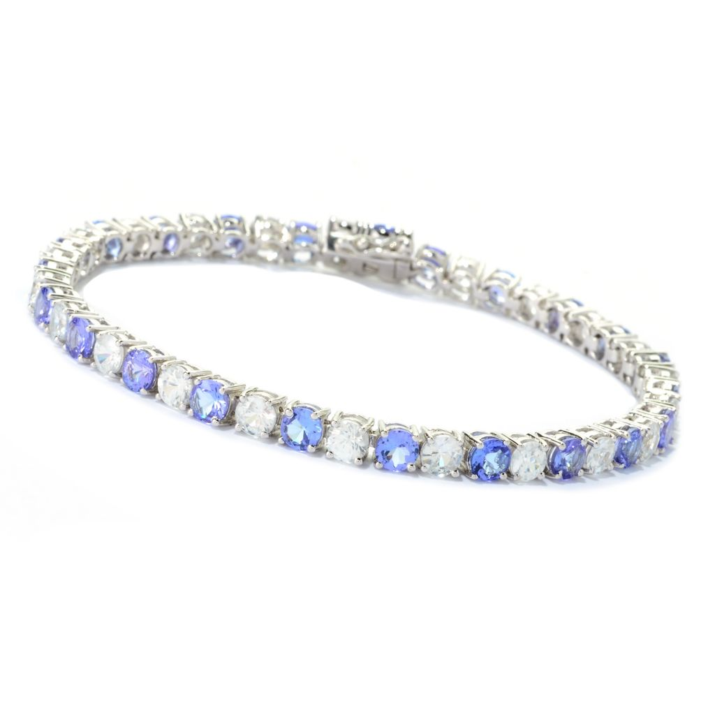 "141-553 - Gem Treasures Sterling Silver 7.5"" 14.11ctw Tanzanite & White Zircon Bracelet"