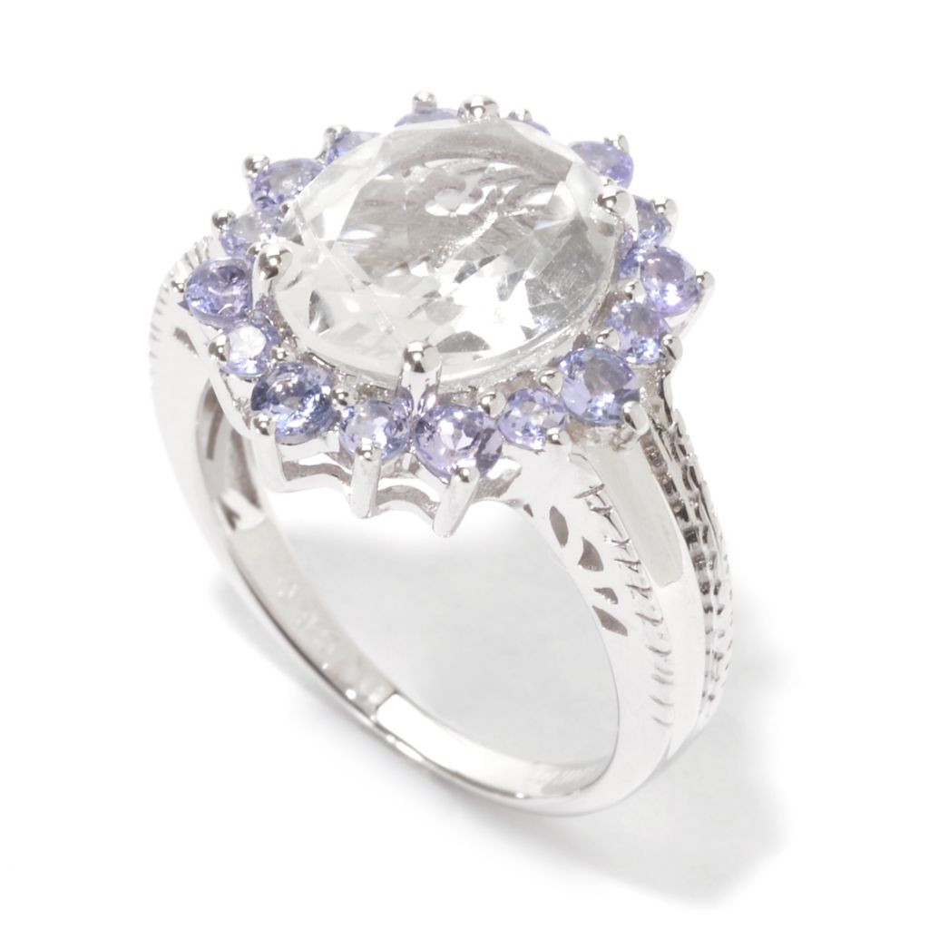 141-554 - Gem Treasures Sterling Silver 5.97ctw White Topaz & Tanzanite Oval Halo Ring