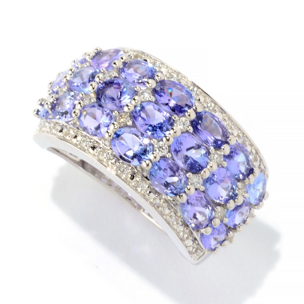 141-555 - Gem Treasures Sterling Silver 3.75ctw Tanzanite & White Zircon Wide Band Ring