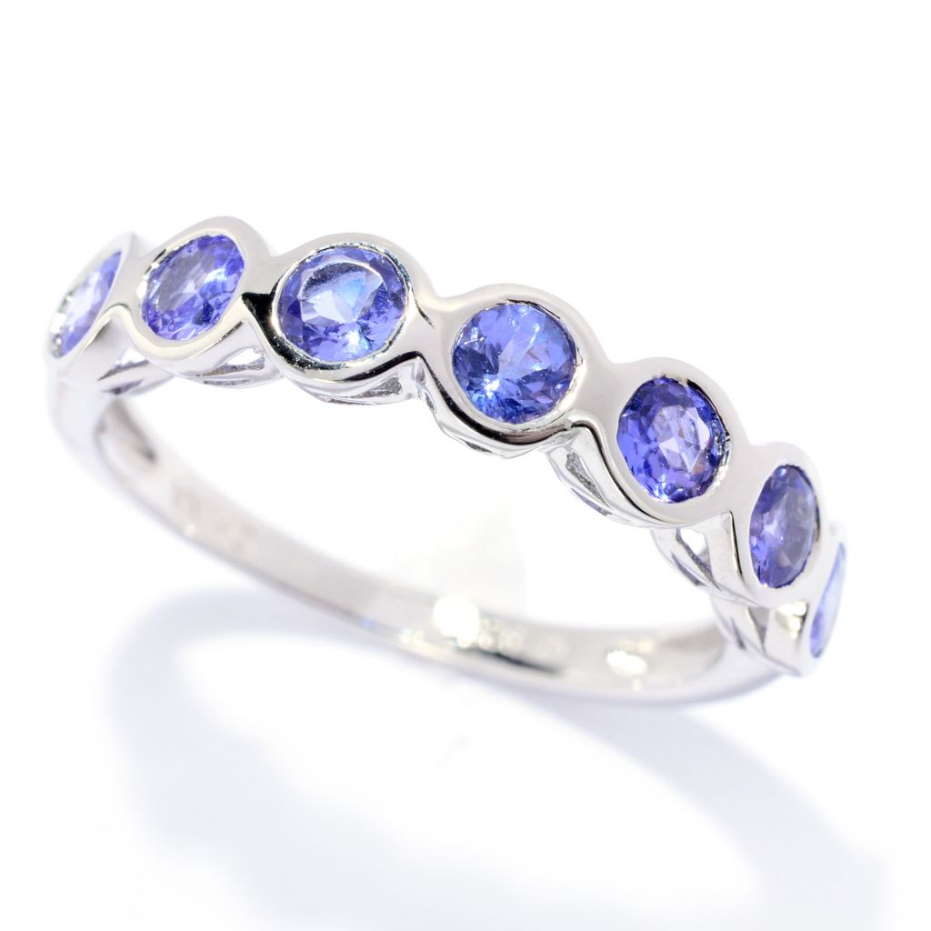 141-556 - Gem Treasures Sterling Silver Round Tanzanite Seven-Stone Band Ring