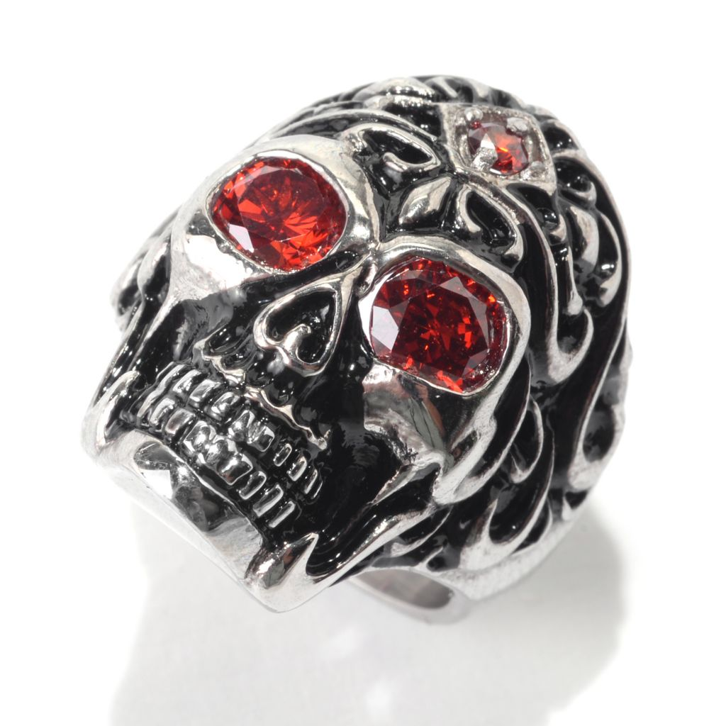 141-558 - Steel Impact™ Men's Stainless Steel & Black Enamel Simulated Ruby Skull Ring