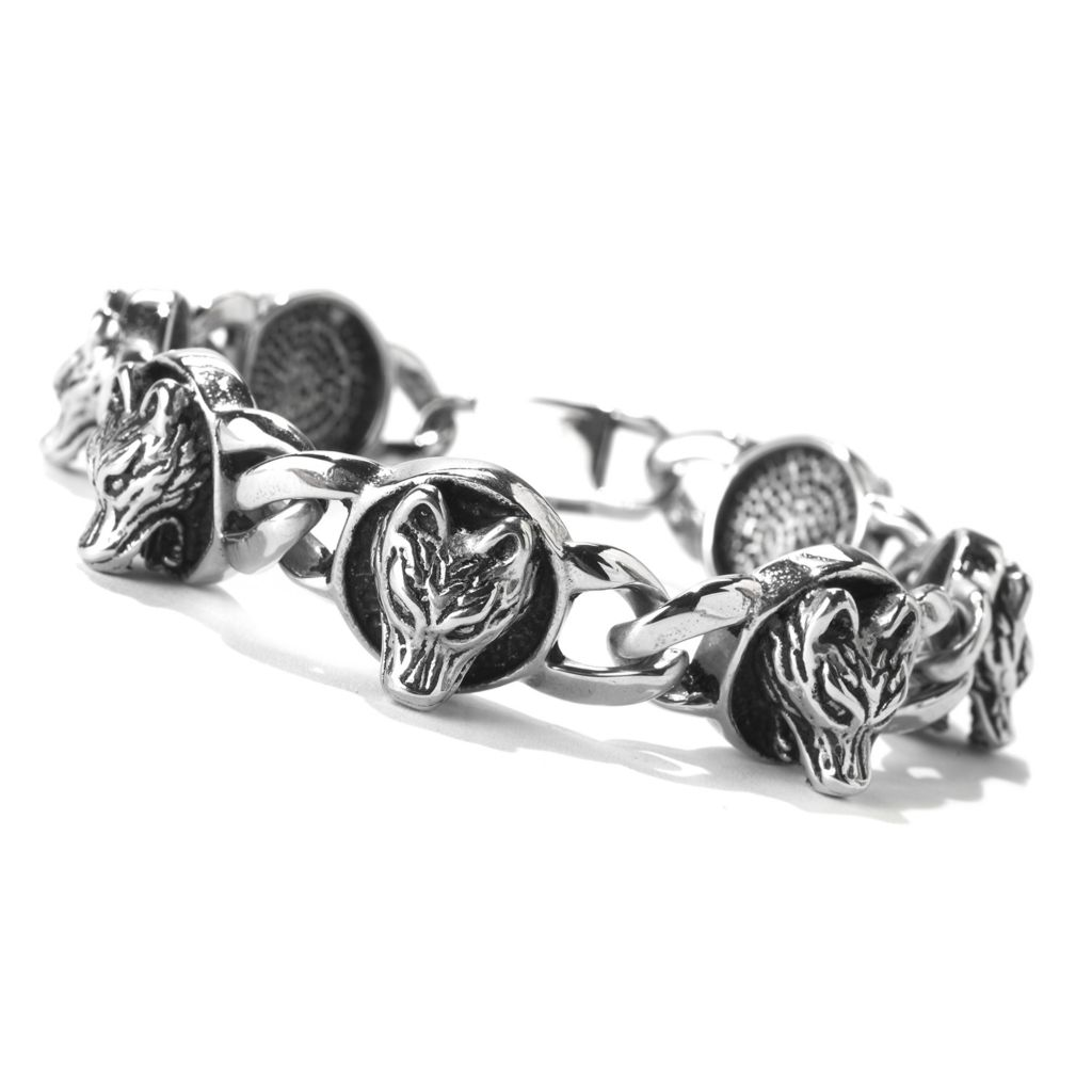"141-561 - Steel Impact™ Men's Stainless Steel 8.75"" Wolf Station Curb Link Bracelet"
