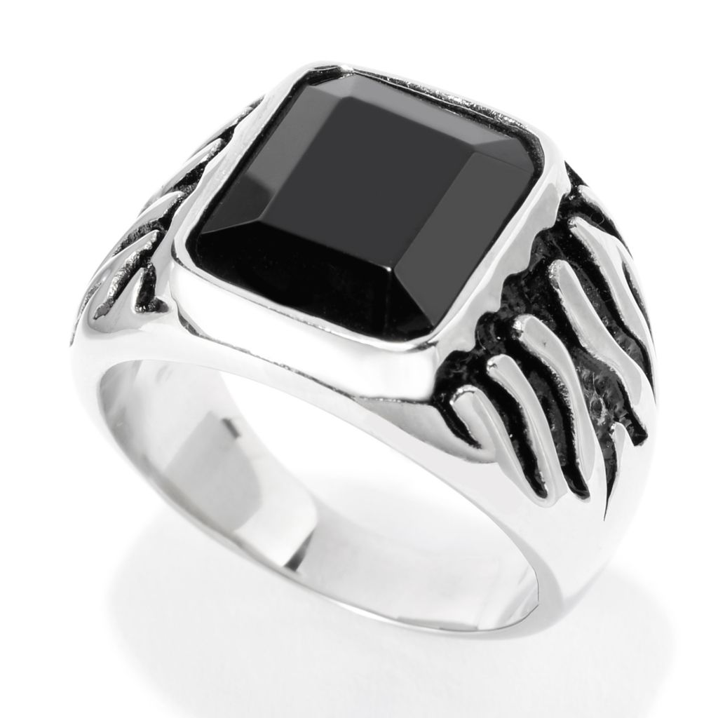 141-565 - Steel Impact™ Men's Stainless Steel 12 x 10mm Onyx Polished & Oxidized Ring