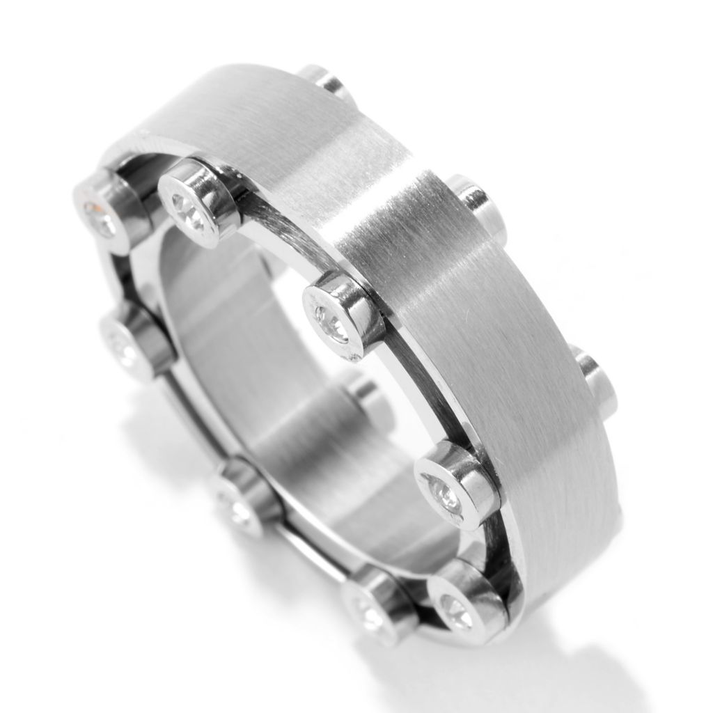 141-566 - Steel Impact™ Men's Stainless Steel Crystal Polished & Brushed Double Band Ring
