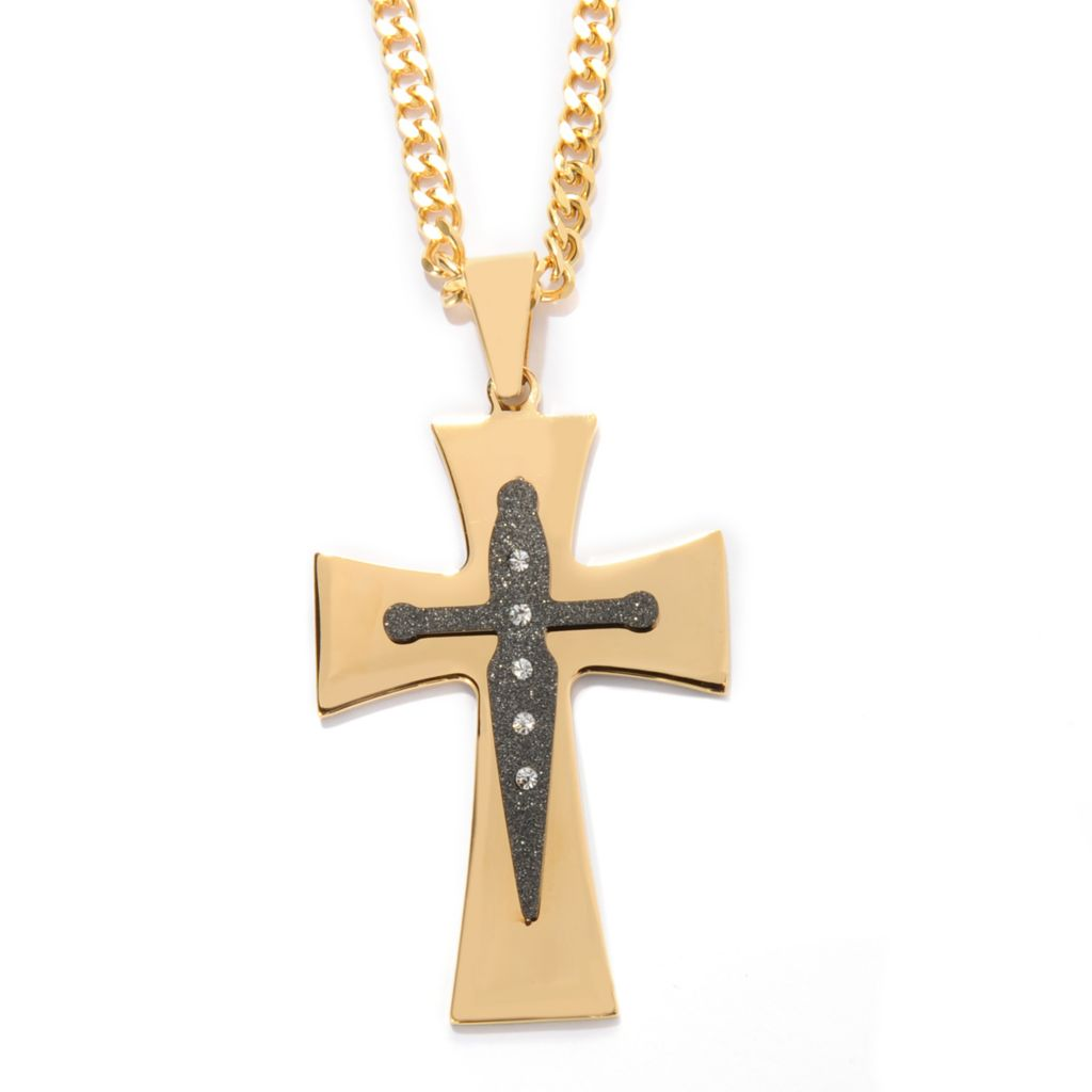 141-567 - Steel Impact™ Men's Two-tone Stainless Steel Crystal Cross Pendant w/ Chain