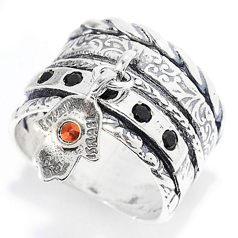 141-572 - Passage to Israel™ Sterling Silver Gemstone Dangle Symbol Charm Wide Band Ring