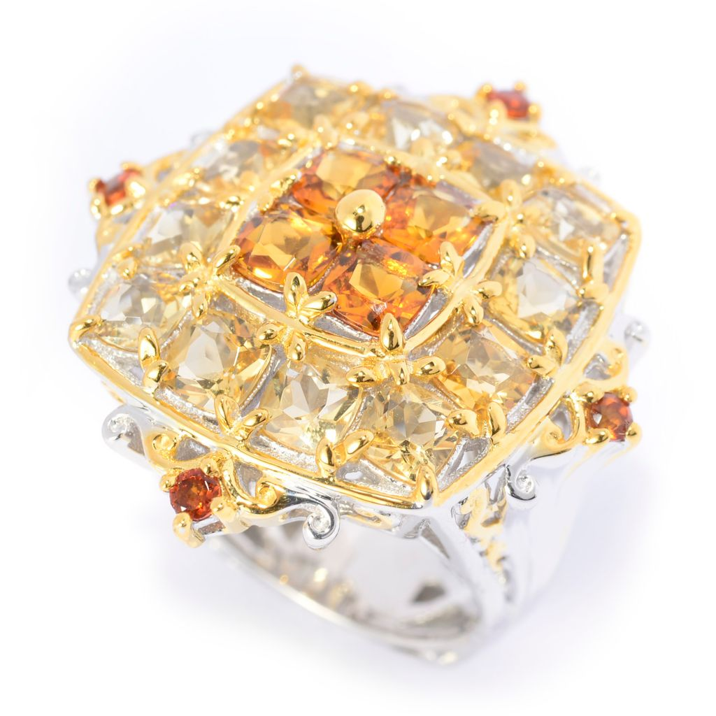 141-575 - Gems en Vogue 3.76ctw Brazilian Madeira Citrine & Canary Citrine Ring