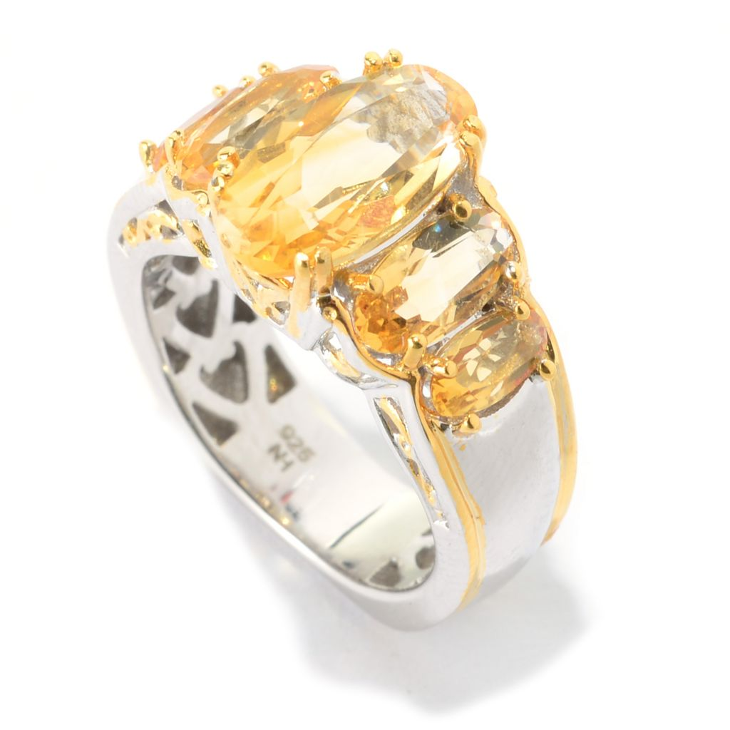 141-576 - Gems en Vogue 3.70ctw Oval Brazilian Canary Citrine Five-Stone Ring