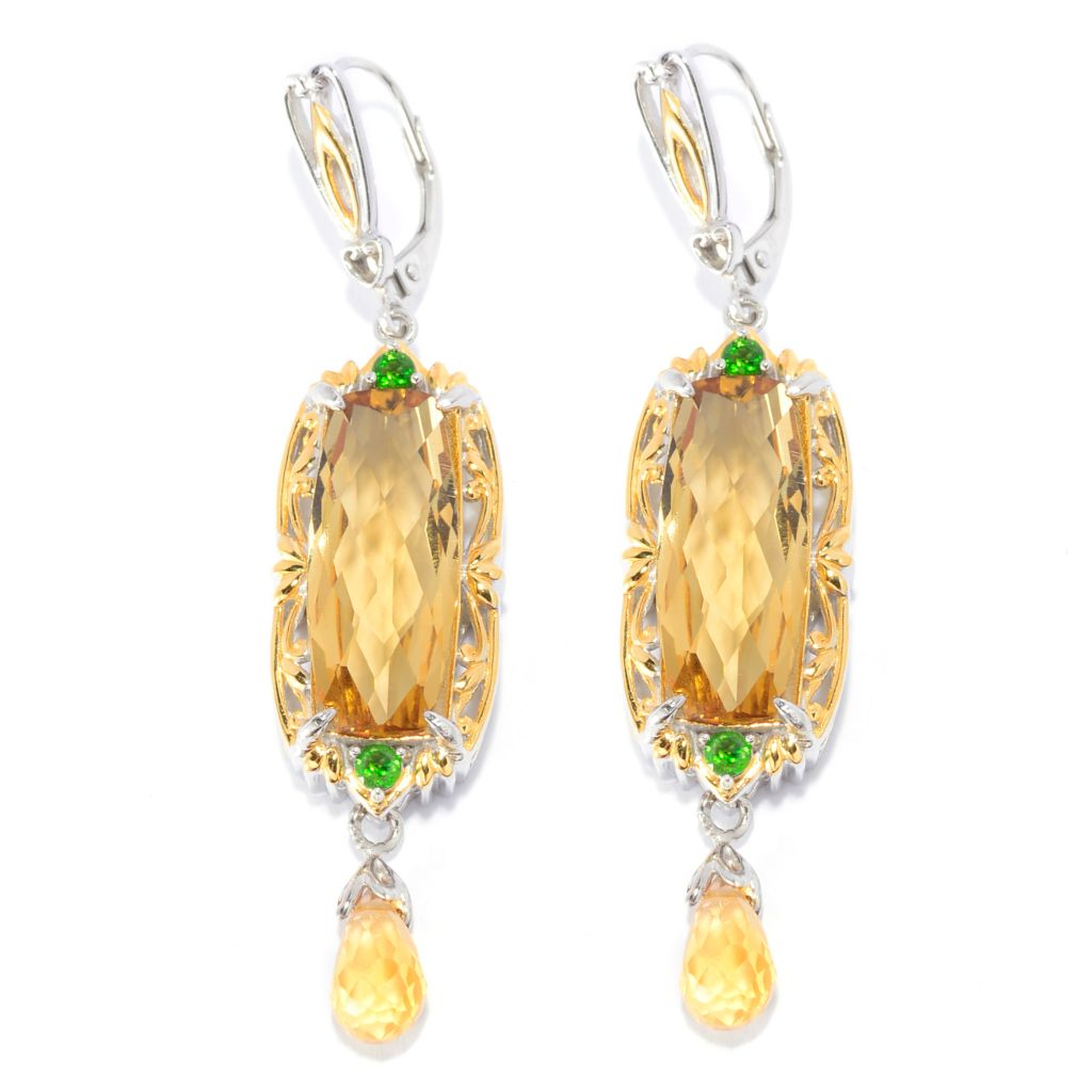 "141-577 - Gems en Vogue 2.25"" 20 x 8mm Gemstone & Briolette Drop Elongated Earrings"