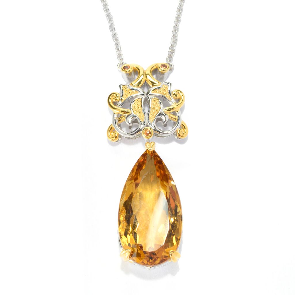 141-578 - Gems en Vogue 17.35ctw Zambian Citrine & Orange Sapphire Drop Necklace