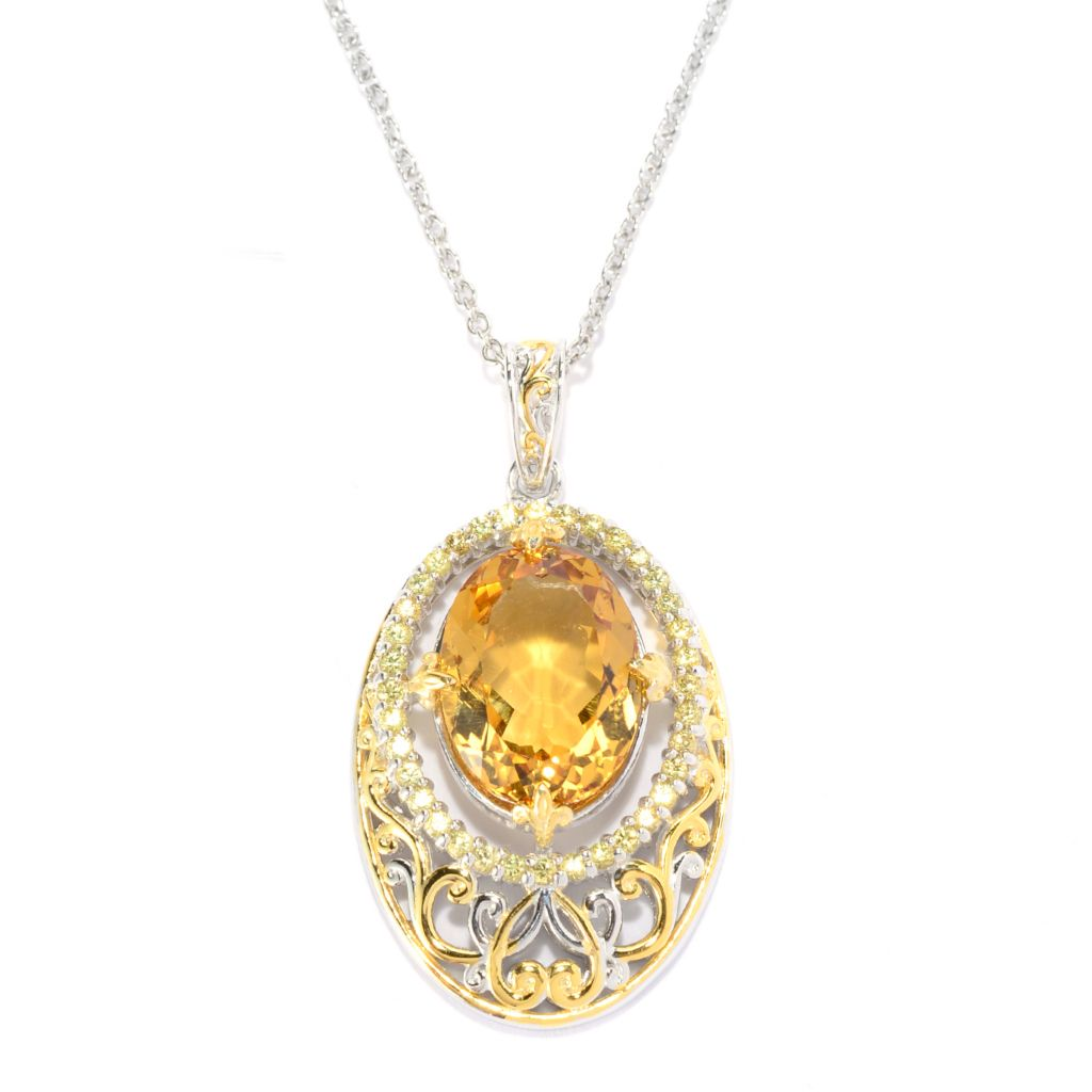 141-579 - Gems en Vogue 9.37ctw Oval Canary Citrine & Yellow Sapphire Pendant w/ Chain