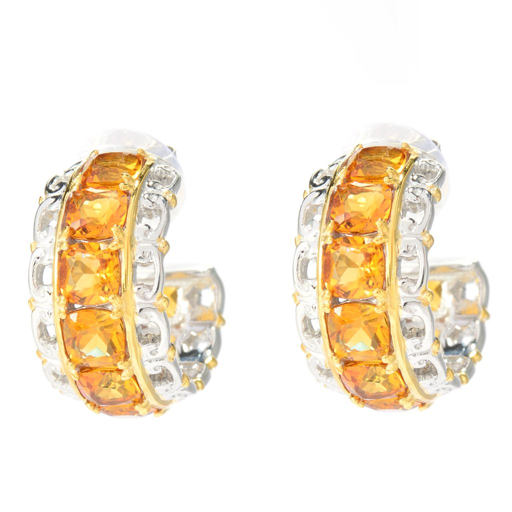 141-580 - Gems en Vogue 8.10ctw Cushion Cut Citrine Hoop Earrings