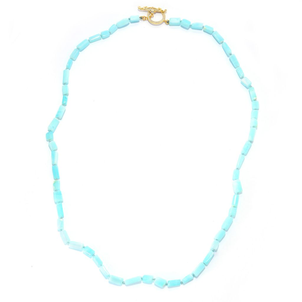 "141-581 - Gems en Vogue 24"" Peruvian Blue Opal Elongated Bead Toggle Necklace"