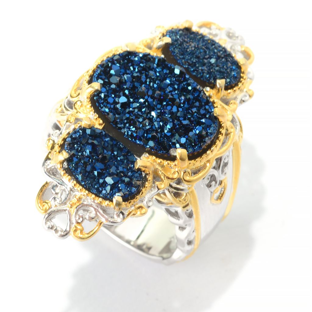 141-582 - Gems en Vogue 14 x 10mm Oval Cobalt Blue Drusy Three-Stone Elongated Ring