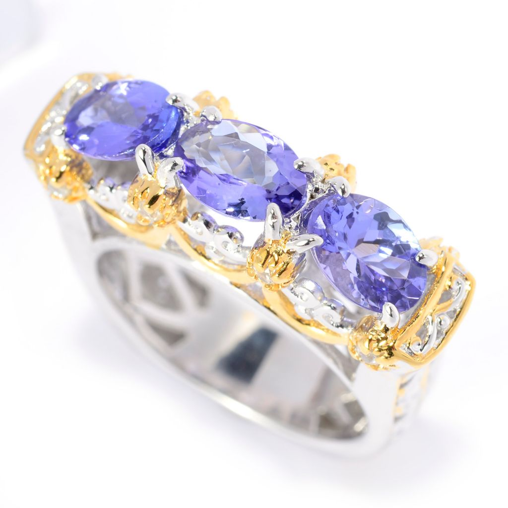 141-583 - Gems en Vogue 2.59ctw Oval Tanzanite & White Zircon Band Ring
