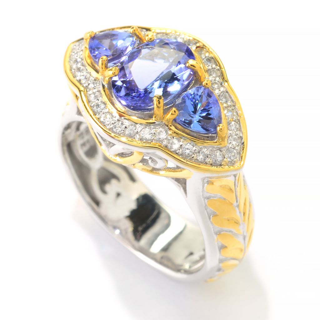 141-584 - Gems en Vogue 1.98ctw Tanzanite & White Zircon Halo Ring