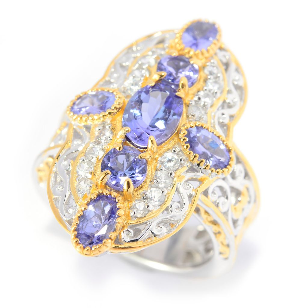 141-585 - Gems en Vogue 2.94ctw Tanzanite & White Zircon Scrollwork Cross Ring