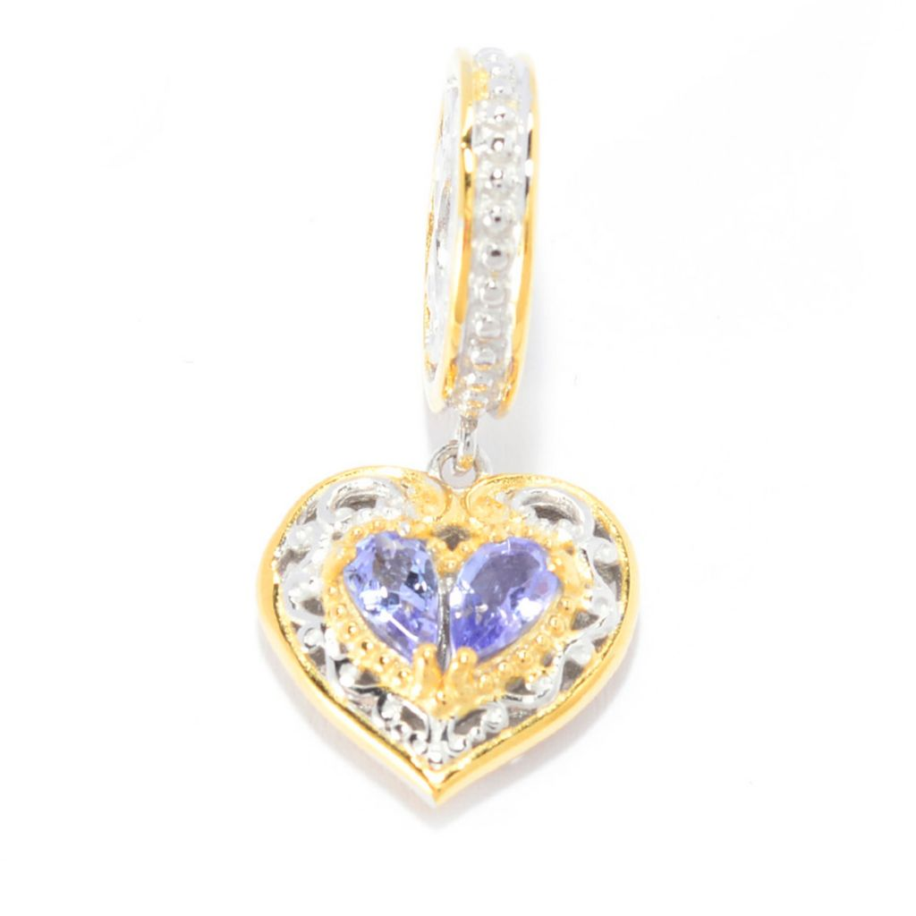 141-586 - Gems en Vogue Pear Shaped Tanzanite Heart Drop Charm