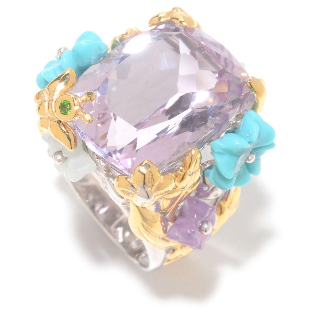 141-588 - Gem en Vogue 15.01ctw Pink Amethyst & Multi Gem Carved Flower Ring