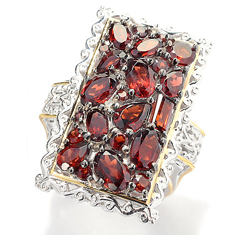 141-589 - Gems en Vogue 5.95ctw Mozambique Almandine Garnet Cluster Ring