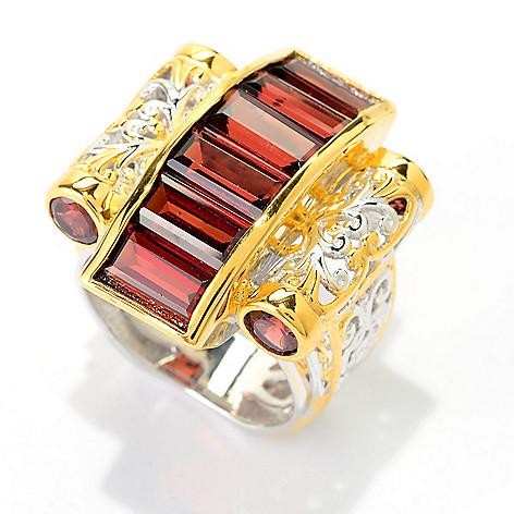 141-590 - Gems en Vogue 4.34ctw Baguette & Round Mozambique Garnet Scrollwork Ring