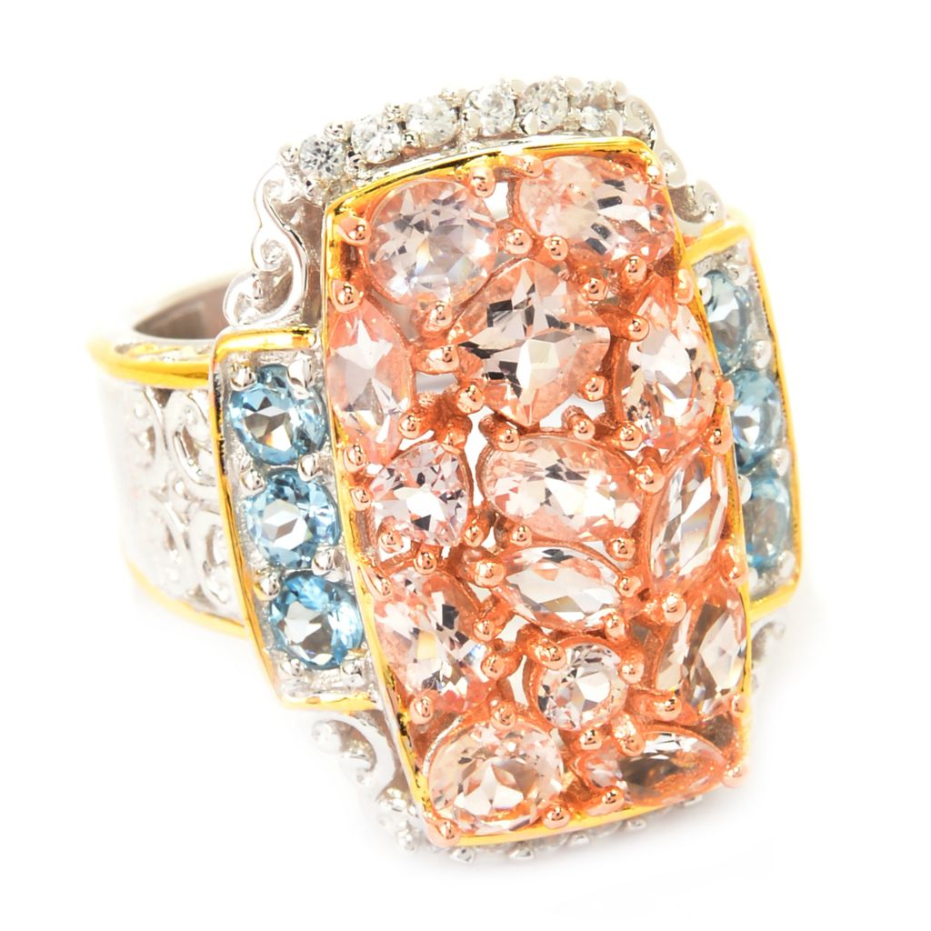 141-591 - Gems en Vogue 3.15ctw Morganite, White Zircon & Aquamarine Cluster Ring