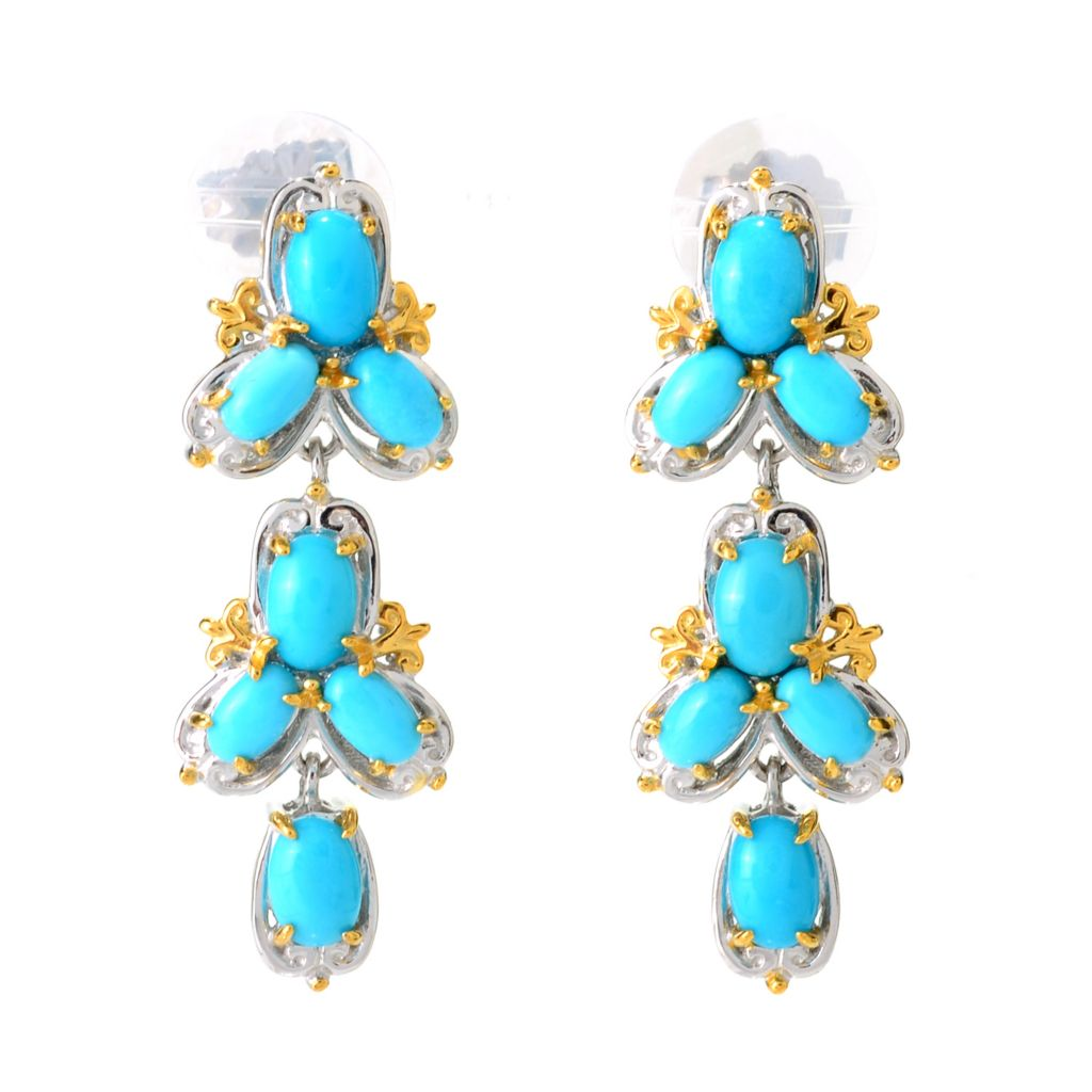 "141-593 - Gems en Vogue 1.5"" Oval Sleeping Beauty Turquoise Dangle Earrings"