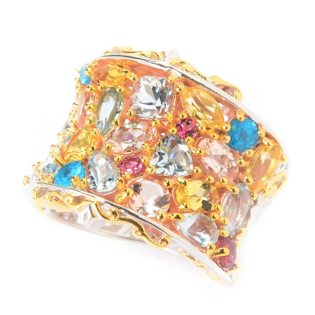 141-594 - Gems en Vogue 4.34ctw Brazilian Multi Gemstone Wide Band Cluster Ring