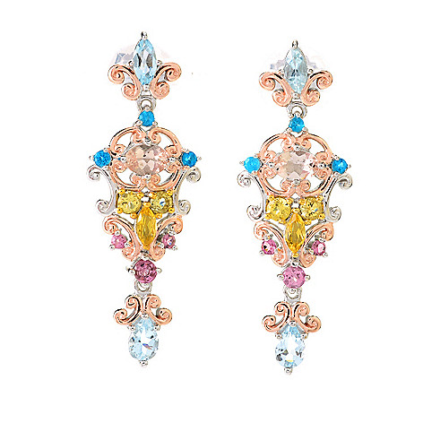 141-595 - Gems en Vogue 1.75'' 3.66ctw Multi Brazilian Gemstone Drop Earrings