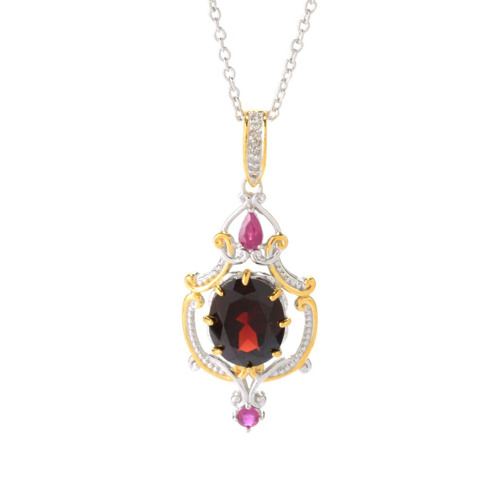 141-596 - Gems en Vogue 5.44ctw Oval Mozambique Garnet, Ruby & Diamond Pendant w/ Chain