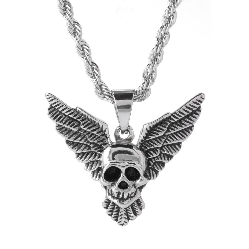141-597 - Steel Impact™ Men's Stainless Steel Etched Winged Skull Pendant w/ Chain