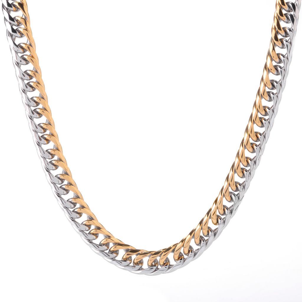 "141-599 - Steel Impact™ Men's Two-tone Stainless Steel 24"" Curb Link Necklace"