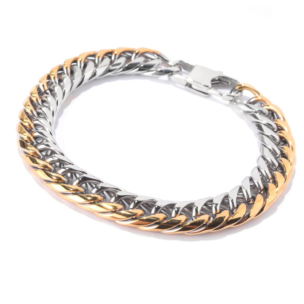 141-600 - Steel Impact™ Men's Two-tone Stainless Steel Polished Curb Link Bracelet