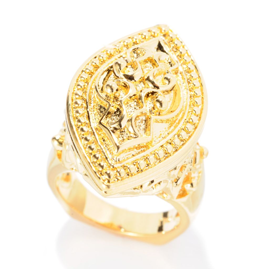 141-603 - Jaipur Bazaar 18K Gold Embraced™ Marquise Shaped Textured & Beaded Dome Ring
