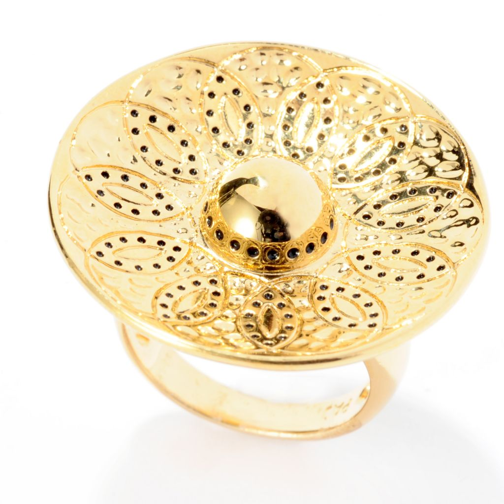 141-605 - Jaipur Bazaar 18K Gold Embraced™ Textured & Beaded Concave Ring