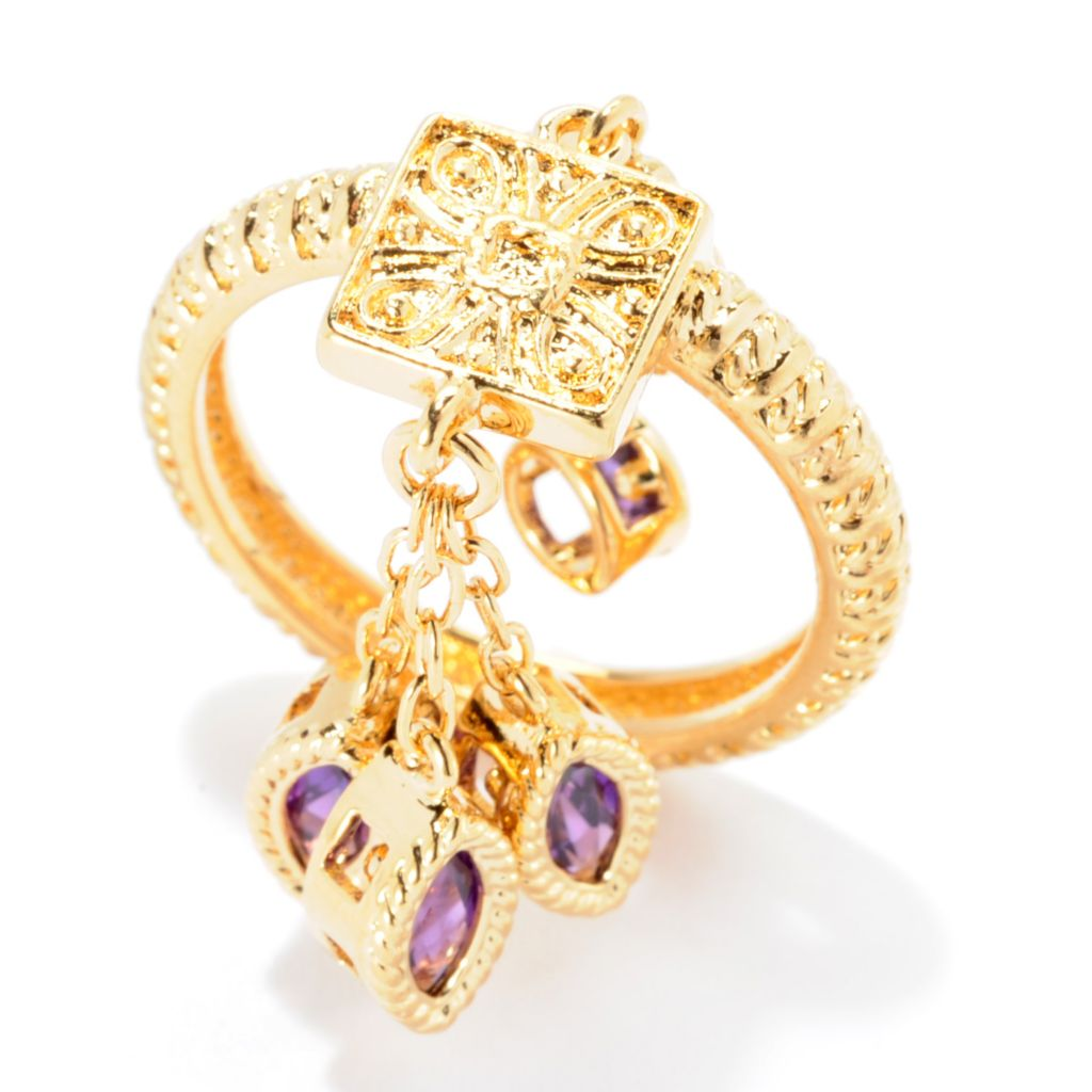 141-607 - Jaipur Bazaar 18K Gold Embraced™ Gemstone Dangling Charm Ornate Textured Band Ring