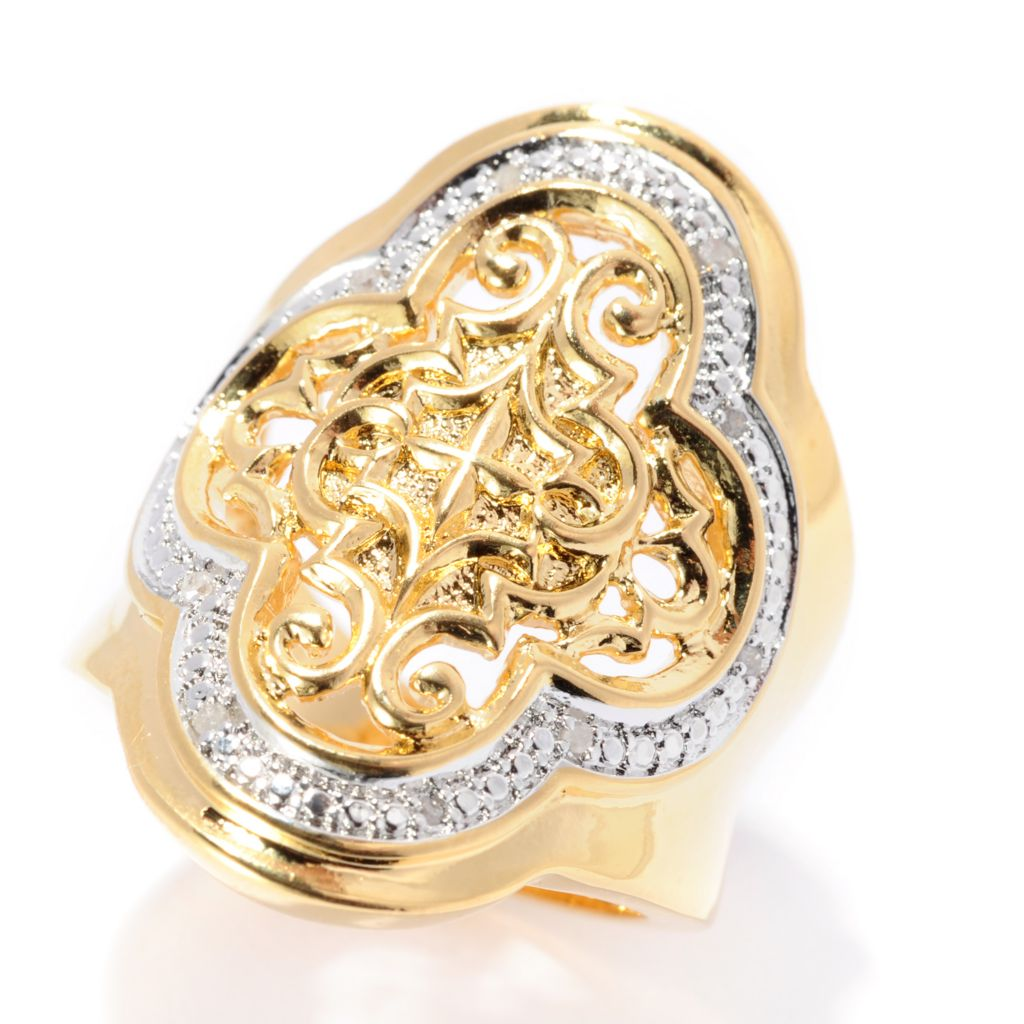 141-608 - Jaipur Bazaar 18K Gold Embraced™ High Polished Scrollwork Ring