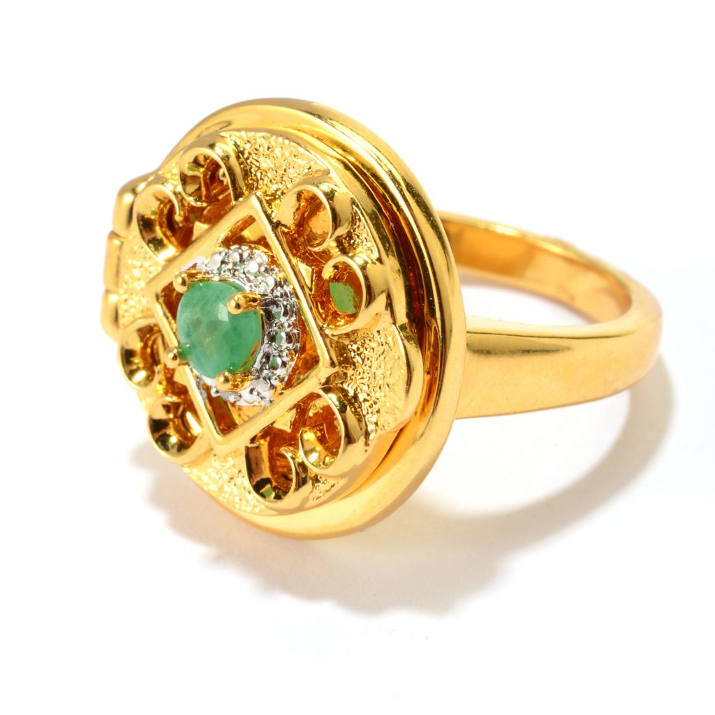 141-609 - Jaipur Bazaar 18K Gold Embraced™ Round Emerald Open Scrollwork Locket Ring
