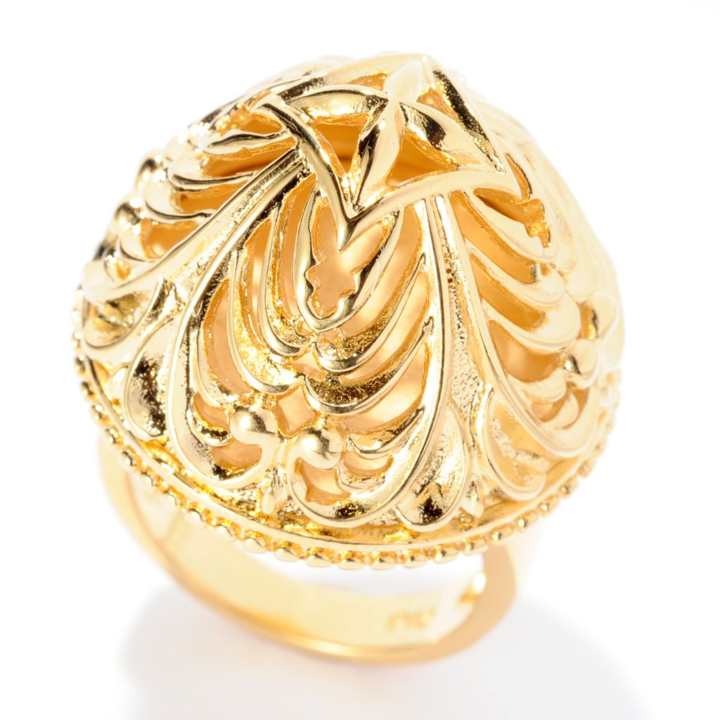 141-610 - Jaipur Bazaar 18K Gold Embraced™ Polished Filigree & Beaded Dome Ring