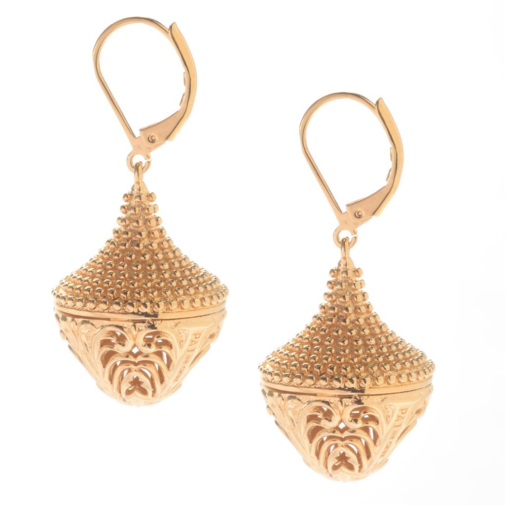 "141-611 - Jaipur Bazaar 18K Gold Embraced™ 1.75"" Polished Filigree & Beaded Drop Earrings"