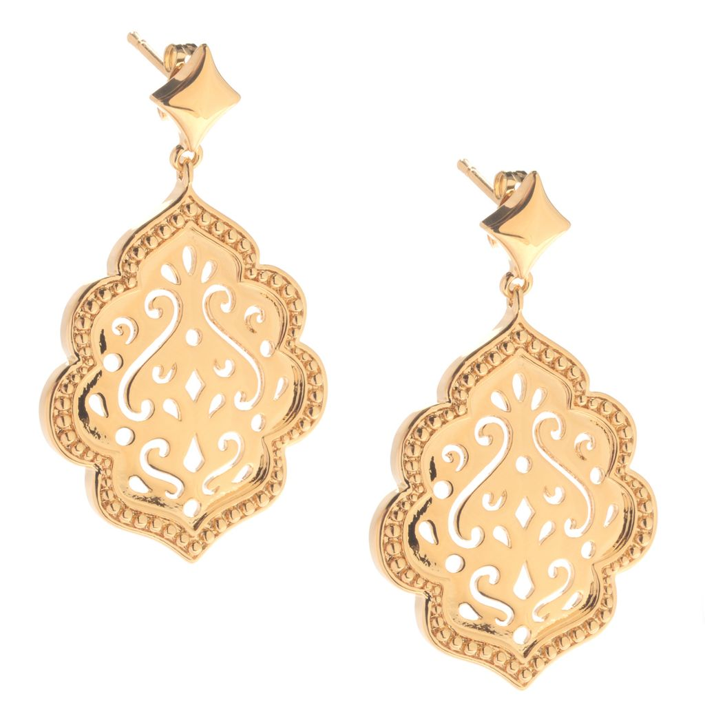 "141-612 - Jaipur Bazaar 18K Gold Embraced™ 1.75"" Polished Scrollwork Dangle Earrings"